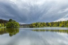 Starting rain (Varvara_R) Tags: sky lake green nature water weather clouds reflections geotagged spring russia sunny abigfave naturescarousel