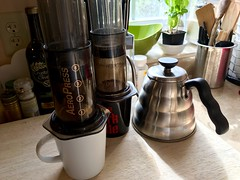 AeroPress! (Adrian Cooke) Tags: morning coffee mugs kettle basil block aeropress