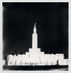 Los Angeles California Temple 1 (tobysx70) Tags: california santa ca door toby bw white black tree film church silhouette angel night project sx70 temple photography for la los boulevard nocturnal christ angeles jesus saints trumpet 66 palm illuminated route monica tip cameras 600 type mormon lit horn rollers hancock slr680 rt blvd rte moroni impossible the latterday of frankenroid impossaroid