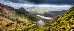 View from Snowdon (bredsig) Tags: greatbritain travel mountain lake water wales clouds landscape cloudy unitedkingdom outdoor hiking top wide wideangle hike snowdon snowdonia topoftheworld ontop