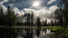 Cathedral Pond Under A Full Moon (WJMcIntosh) Tags: meadow fullmoon yosemite yosemitenationalpark cathedralrocks clearingstorm cathedralspires