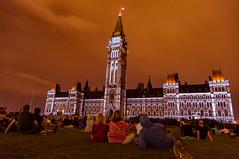 Mosaika Light Show on Parliament Hill (Tony Webster) Tags: ca longexposure ontario canada night ottawa lawn lightshow parliamenthill centreblock mosaika parliamentofcanada