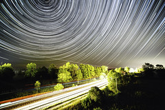 Star Streaks, Plane Paths and Train Trails (Matt Molloy) Tags: mattmolloy timelapse photography timestack photostack movement motion night sky startrails lines light train tracks airplanes trees fog auroraborealis northernlights fun ontario canada landscape lovelife