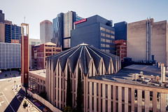 Maughan Church (Andrew_Dempster) Tags: theadelaidereview southaustralianheritage 24sidedcrown urban octagonalchurch pittstreet church contemporarygothic australia foldedplateroof architecture cityscape franklinstreet maughanchurch southaustralia adelaide