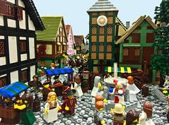 Busy Citizens, City of Durrough (Gary^The^Procrastinator) Tags: lego lor legodiorama castle landsofroawia durrough city model street blackswan harbor knight lenfald vignette wamalug