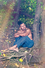 -Rooted- (Ismael Barrera - DIGISNAPSTUDIO) Tags: portrait usa man tree feet muscles fashion oregon forest vintage pose effects photography exposure arms masculine jeans barefoot flare salem facialhair root malemodel overlays copyrighted bluecast ismaelbarrera digisnapstudio