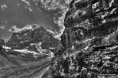 Glacial Rock (820-Photography by James Anderson) Tags: blackandwhite monochrome lakelouise banffnationalpark alberta canada mountlefroy victoriaglacier glacier jamesa1 820photography