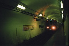 The El Below (RW Sinclair) Tags: camera city blue urban chicago color colour film analog train subway gold illinois spring lomo lca lomography blueline kodak rail el line april l analogue 135 russian 32mm 2016 minitar