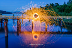 Spinning Fire (mikesa10) Tags: ca longexposure canada britishcolumbia firespinning bluehour mapleridge fraserriver fortlangley canon6d
