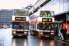 A pair of Finglands (SelmerOrSelnec) Tags: bus manchester volvo alexander olympian finglands piccadillybusstation n741yba n743yba