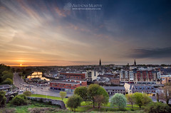 Drogheda sunset from Millmount (mythicalireland) Tags: sunset monument river evening town view may churches valley defensive steeples drogheda boyne millmount