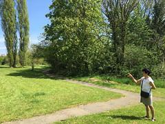 Espe at Whetstone Stray (jovike) Tags: park woman sun tree london nature path barnet espe