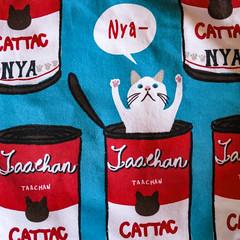 tote bag (jojoannabanana) Tags: blue cat square japanese pattern squareformat neko tote canonpowershot nya totebag s100 taachan cattac 3662016