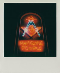 Masonic Temple (DavidVonk) Tags: film sign analog vintage polaroid temple neon mason free lodge masonic masons instant neonsign benson slr680 freemasons freemason 290 impossibleproject johnjmercer