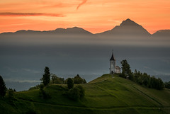 Church Jamnik (Mario Visser) Tags: morning travel orange mountain alps green church grass sunrise landscape julian nikon europe slovenia bergen rood brilliant kerk jamnik mariovisser