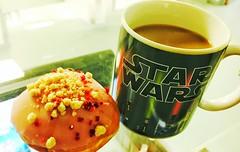 (dazmo862) Tags: white black pink brown starwars marshmallow cream raspberry doughnut drink coffee mug cup