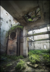 factory of circles (biancavanderwerf) Tags: urbex urbanexploration abandoned forgotten decay old broken circle factory italy bianca bricks plants ceiling