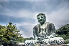 The Buddha at Kamakura (GimpRider) Tags: japan kamakura kotoku kanagawa buddha statue sculpture bronze outdoor giant colossal big green clouds cloud sky