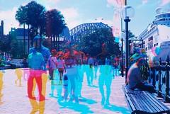 Sydney Harbour Bridge & people walking (goodfella2459) Tags: bridge colour film set analog 35mm lens nikon exposure experimental kodak harbour group sydney pop quay filter multiple 100 24mm af nikkor milf f4 circular hoya ektar c41 f28d