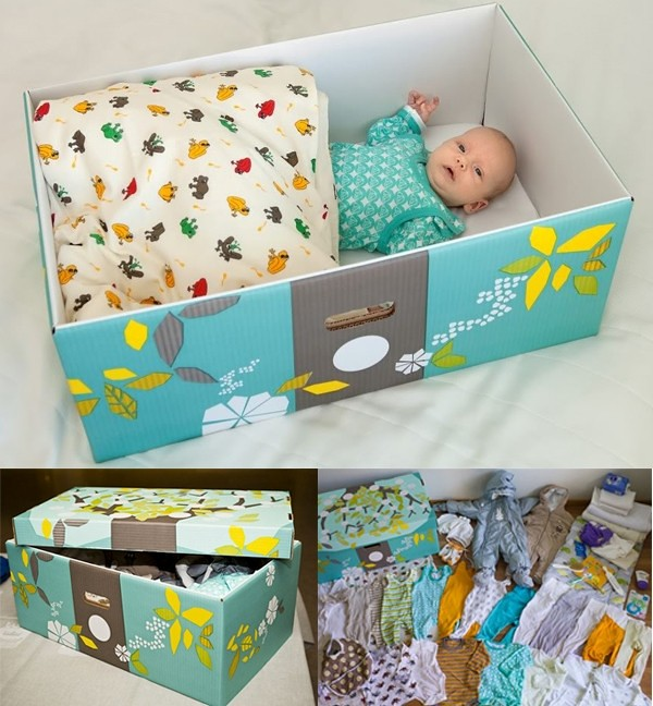 3Hộp quà được tận dụng làm nôi em bé