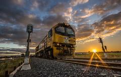 (Yet) another Eureka sunset! (zebedee1971) Tags: sunset sky orange sun sunlight grass yellow metal clouds train dusk stones tracks rail railway signal kiwirail