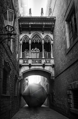block (d4ku) Tags: barcelona old blackandwhite bw de town blackwhite alley gothic quarter block blockade carrer icosahedron bisbe schwarzweis ikosaeder