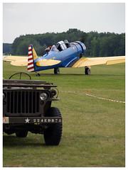 North American T-6G Texan C/N 168-160 (Aerofossile2012) Tags: car jeep aircraft harvard voiture airshow trainer avion texan t6g snj 2014 northamerican cerny toratoratora ferté