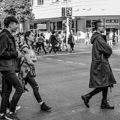 Leading the Way (Pauls-Pictures) Tags: camera city friends people urban blackandwhite monochrome lens photography three fuji crossing candid sydney australian photographers australia fujifilm standard leading streetphotos compactcamera streetphotographer streetpics twoscompany streetphotograhy achromatic xt1 streetpictures fxlens mirrorlesscamera australianstreetphotographers 35nmf14lens