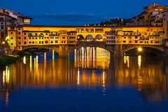 The Old Bridge of Florence (Harry2010) Tags: italy reflections lights evening florence bluehour pontevecchio arnoriver
