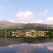 Llanberis village reflection in padarn lake.