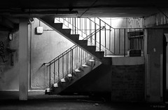 liminal space (amazingstoker) Tags: park light blackandwhite house monochrome car stairs concrete gloomy view space hampshire stairwell shade transition dingy subterranea basingstoke uncertainty grosvenor liminal basing amazingstoke basingrad