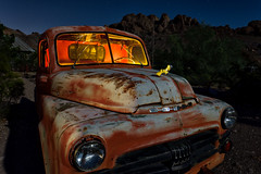 dodge job-rated. eldorado canyon, nv. 2016. (eyetwist) Tags: old longexposure shadow red orange lightpainting southwest abandoned yellow night truck vintage dark dead typography star nikon rust ruins mine long exposure desert decay empty nevada ruin trails rusty pickup wideangle nelson headlights fullmoon nv ornament chrome american highdesert coloradoriver dodge ghosttown hood americana lonely grille windshield nikkor ram desolate derelict nocturne touristtrap cracked patina startrails typology mojavedesert carmageddon jobrated eldoradocanyon eyetwist techatticup npy techatticupmine 1024mm d7000 capturenx2 eyetwistkevinballuff 1024mmf3545g americantypology