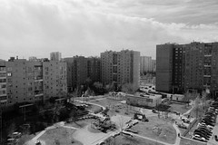 untitled (Anton Zabermach) Tags: city urban blackandwhite bw film architecture analog 35mm cityscape russia wideangle nikkor ilford fp4 nikonfe2 selfdeveloped microphen 24mmf28ais