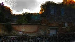 Sounds of paddle (Bamboo Barnes - Artist.Com) Tags: photo painting light shadow digitalart landscape evening sky dull venezia italy building house wall brick gondola man sunset window blue grey orange red green black tree bamboobarnes