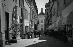 Macerata (Danilo Calvaresi) Tags: road blue houses sky people blackandwhite bw
