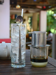 Vietnamese coffee (phuong.sg@gmail.com) Tags: black hot cup glass coffee brewing asian restaurant milk cafe aluminum asia vietnamese drink background traditional beverage style spoon vietnam gourmet drip pot filter brew condensed refreshment brewed