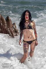 _MG_5593web (simages photography) Tags: sea black sexy beach water beautiful tattoo lady female canon hair rocks waves skin spray bikini femalemodel swimwear skinart tattoed tattoedgirls blacklonghair canon600d