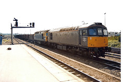 33002 33102 Westbury (British Rail 1980s and 1990s) Tags: br britishrail class33 33002 33102 westbury 33 train rail railway station diesel loco locomotive freight railfreight 90s 1990s sulzer type3 nineties livery trains brcw liveried blue traction railways