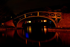 Hawkesbury Junction Bridge... (Andy Milner) Tags: bridge reflection night canal nightshot oxfordcanal coventrycanal