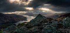 Ben A'an and Loch Katrine (GenerationX) Tags: sunset sky mountains water clouds landscape evening scotland rocks unitedkingdom dusk scottish peak neil gb summit rays trossachs barr callander lochkatrine benaan stronachlachar locharklet canon6d