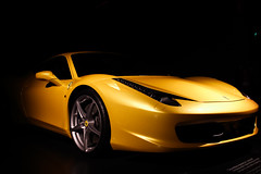 Ferrari 458 (f.pignatelli) Tags: italy beautiful car yellow canon dark torino ferrari vehicle museo 24mm 458 museodellautomobile