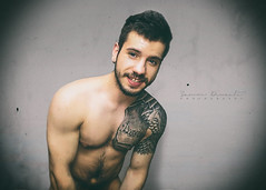 I Have No God (SammDewaele) Tags: blue black hot male men guy smile hair beard model arm body muscle chest simple tatto outstanding