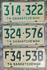 SASKATCHEWAN 1974 LICENSE PLATES, THREE SHADES OF GREEN LETTERING (woody1778a) Tags: saskatchewan 1974 licenseplate collection mycollection myhobby canada numberplate registrationplate alpca1778 npcc196