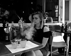 Steam Queen (Becky Frances) Tags: blackandwhite blackandwhitestreetphotography beckyfrances city candid england eastlondon hackney london lensblr olympus streetphotography socialdocumentary smoke stokenewington urban uk vaping 2016