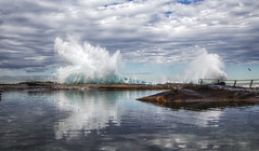 Water (LSydney) Tags: splash wave spray pool rockpool curlcurl clouds reflection