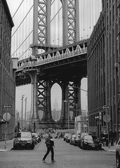 Classic shot of the Manhattan Bridge (nextstopbombay) Tags: manhattanbridge newyork usa monochrome bridge street blackandwhite blackwhite bw nikonf6 35mmfilm 135