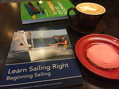 Sailing, Spanish, Mocha, and a Cookie (Arthaey) Tags: sailing cookie coffee book caf pink spanish ussailing