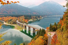 橋 (PS兔~兔兔兔~) Tags: autumn hill leaves shore foliage natural travel lakefront calm amazing view lakeside trees curve curvy scenery germany highway viewpoint mountainside lake alpine serene tour sylvensteinsee smooth alps cloudy fall drive colorful panorama mountain dam beauty rural scenic romantic trip scene beautiful background water bridge nature peaceful idyllic tranquil road landscape moraine mountains national outdoor park peaks reflection rock rocky serenity sky snow forest glacier hiking
