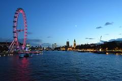 River Thams, London (rq uk) Tags: rquk nikon d750 london highiso nikond750 afsnikkor1835mmf3545ged riverthames river sky southbank blue clouds londoneye bigben westminsterbridge moon