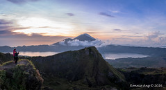 A 5 panel handheld pano of the crater of Mount Batur in Bali Indonesia. (ronang) Tags: mountbatur gunungbatur volcano crater sunrise warm glow hikers lake sun bali indonesia